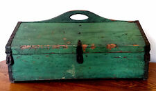 Antique Orig Apple Green Paint Primitive Wood Iron Carpenter Tool Chest Box AAFA