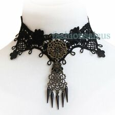 Fashion Retro Vintage Vampire Fabric Lace Choker Beads Gothic Collar Necklace
