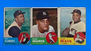 1963 Topps Baseball (3) Card Lot w/ Roberto Clemente Willie Mays & Roger Maris