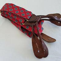 Vintage CAS Braces Suspenders Silk Brown Leather Red/Navy Stud Design Germany