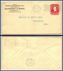 1908 US Cover-Browne & Sharpe Mfg, Providence, Rhode Island to Greenfield,MA D22