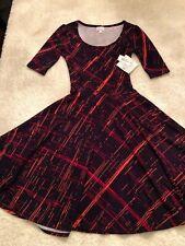 *NEW* LuLaRoe Nicole Dress Purple Slashes Print Women's Size XS