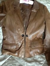 Zara ladies genuine Tan leather short jacket size10 excellent condition.