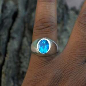 Mens Ring 925 Sterling Silver Handmade Jewelry Silver Ring For Men Blue Topaz