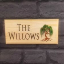 Personalised Willow Tree House Name / Number Plaque / Sign - Garden Home Shed