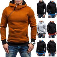 Hoodies Men Sweatshirt Fashion Oblique Zipper Solid Color Tracksuit Casual Hoody