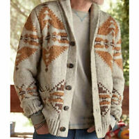 Men Chunky Knitted Cardigan Thick Sweater Long Sleeve Button Jacket Coat US