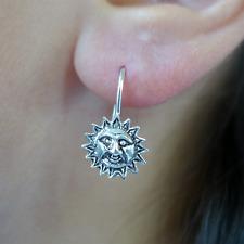 Pair of 925 Sterling Silver Sun Earrings Dangle Drop Hook Womens Girls Jewellery