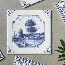 English delftware Bridge blue/ white traditional decorative tile 5224/3F