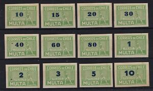 CHILE Caupolican due stamps green full set UNUSED NO gum blue overprint Imperf.