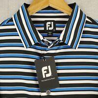 NWT FOOTJOY Large Mens Golf Polo Shirt Blue/White Melange Striped Stretchy NEW