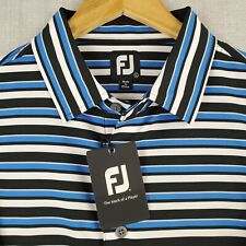 NWT FOOTJOY Large Mens Golf Polo Shirt Blue/White Melange Striped Stretchy NEW