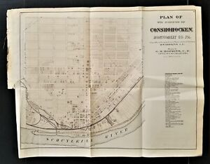 1871 antique CONSHOCKEN Plan of the Borough montgomery co pa MAP from Atlas