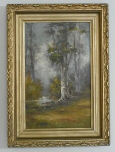 19th c American Impressionist Plein Air Oil on Board Birch Tree Forest Landscape