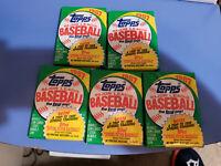 Five Unopened 1987 Topps Baseball Card Wax Packs
