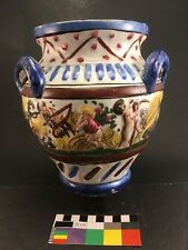 ITALY Faience Three Handle Vase Urn MAJOLICA Capodimonte Style Putti