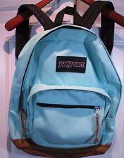 ~ JanSport ~ COOL AQUA COLOR Backpack Brown Leather Bottom (GREAT SHAPE see pix)