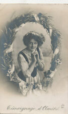 C6187 1910 RPPC PHOTO POSTCARD ALPHABET LETTER O  WRREATH