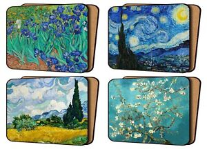 Set of 4 Placemats Cork Backed Van Gogh Art Prints Starry Night And Others