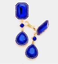 "2.5"" Long Rhinestone Royal Blue Pageant Wedding Crystal Earrings Gold Clip On"