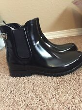 New Michael Kors Women's Chelsea Black Ankle Rubber Rain Boot Size 8