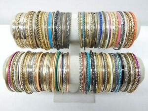VINTAGE TO NOW THIN METAL BANGLE BRACELET LOT - ASSORTED ACCENTS