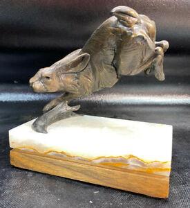 DAN OSTERMILLER AMERICAN WESTERN BRONZE SCULPTURE Jumping Jack Rabbit MARBLE