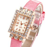 Fashion Women Quartz Analog Square Wristwatch Rhinestone PU Leather Strap Watch