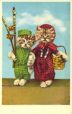 Dressed Kittens, Going Fishing,  Dressed Animals, Old Postcard