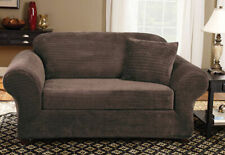 Sure Fit Stretch Royal Diamond 2 piece Sofa Slipcover Box Cushion in Brown