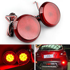 2× LED Rear Bumper Round Reflector Red Brake Stop Light NISSAN QASHQAI 2007-2015