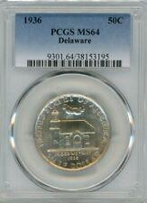 1936 Silver Commemorative Delaware 50C, MS 64 - PCGS