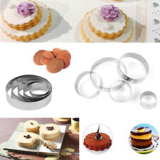 5X Round Cookie Biscuit Cutter Set Pastry Donut Doughnut Baking Metal Ring Mold