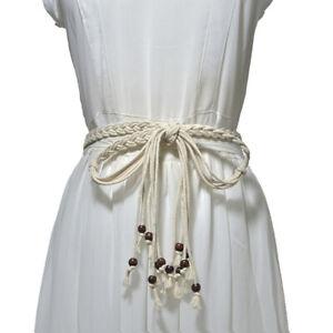 Trendy Braided Waistband Women's Dress Belt Thin Solid Retro Tassel Bohemian BT