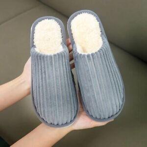 Men Women Mules Velor Plush Warm Home Slippers Soft Comfort Footbed Slippers Sz