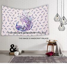 Indian Peacock Print Cotton Tapestry Hippie Dorm Twin Wall Hanging Bohemian Deco
