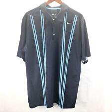 Men's Nike Fit Dry Stripe Polo Golf Shirt Navy Blue Stripes