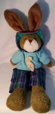 "Russ Berrie Plush Bunny Rabbit ""Jumpers"", Plaid Pants, 22"""