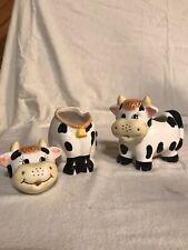 Houston Harvest Ceramic 4� Cow Creamer & 5.5� Sugar Bowl