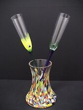 """Opus Crystal """"MARDI GRAS"""" 2 champagne Flutes with Holder Vase Czech Republic"""