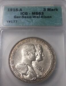 Rare 1915 Saxe-Weimar-Eisenach Germany  3 Mark- ICG MS 63