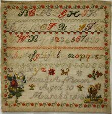 MID/LATE 19TH CENTURY MOTIF & ALPHABET SAMPLER BY SARAH.A.NIXON AGED 10 - 1878