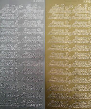 2 sheets of Happy Anniversary Peel-offs  Gold and Silver