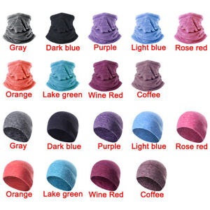 1/2PC Winter Cationic Fleece Warm Beanie Hat Face Cover Neck Gaiter Tube Scarves
