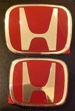 HONDA RED H JDM EMBLEM 2PCS BADGE  CIVIC 2DR COUPE DX EX LX SI Front & Rear 3M