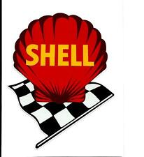 SHELL FLAG F1 PROMO VINYL STICKER / DECAL OIL GAS FORMULA 1 V8 RACING CHEQUERED
