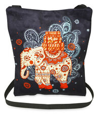 Black Whimsical Elephant Crossbody Shoulder Bag African Ethnic Women Teens Girls
