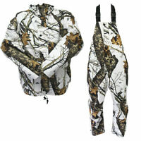 Mossy Oak Waterproof Hunting Jacket & Bib | Winter Break Up Camo | White & Brown