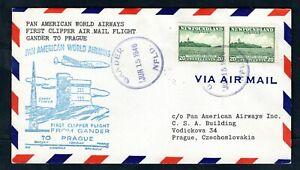 Newfoundland - 1946 Pan American First Flight Airmail Cover Gander to Prague