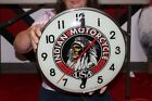 """Vintage 1961 Indian Motorcycle Gas Oil 15"""" Pam Lighted Metal Clock Sign"""